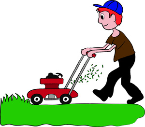 Clip Art Illustration of a Boy Mowing the Lawn