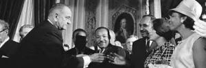President Johnson, Martin Luther King, and Rosa Parks at signing of Voting Rights Act
