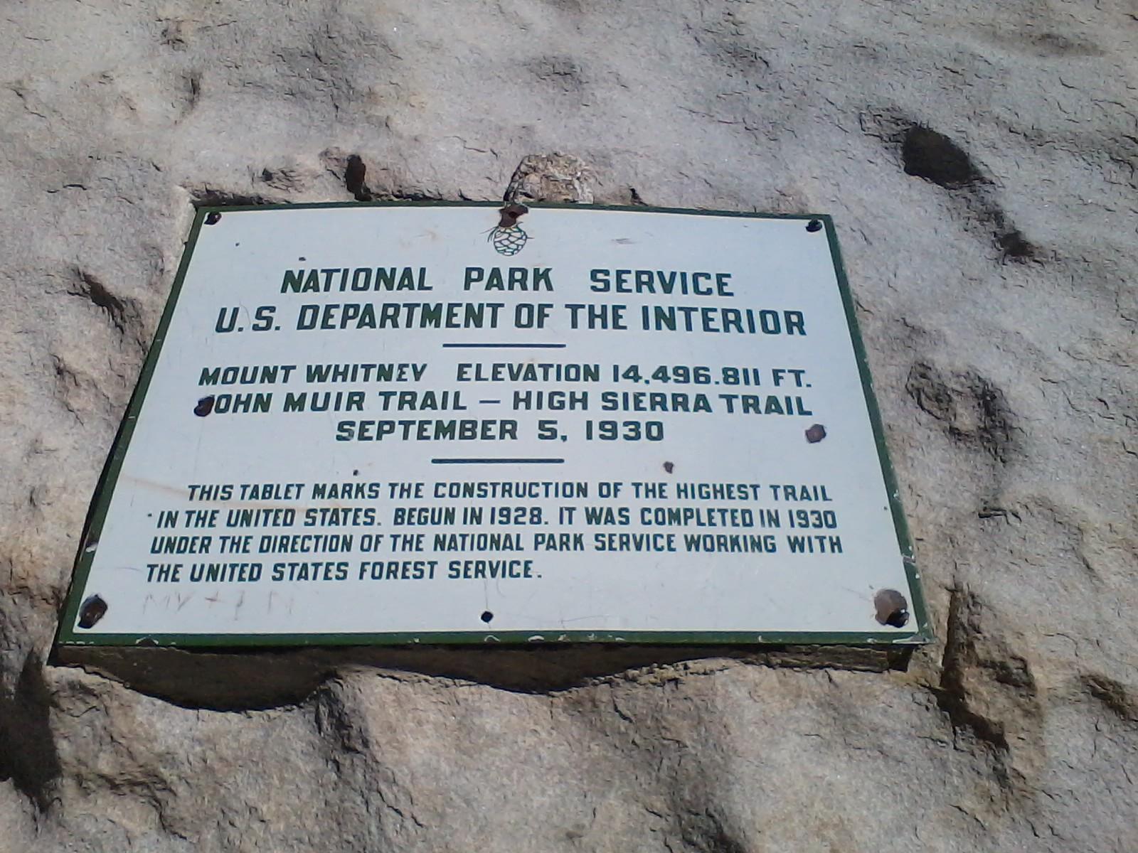 Mt. Whitney plaque