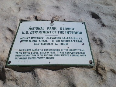 Mt. Whitney plaque